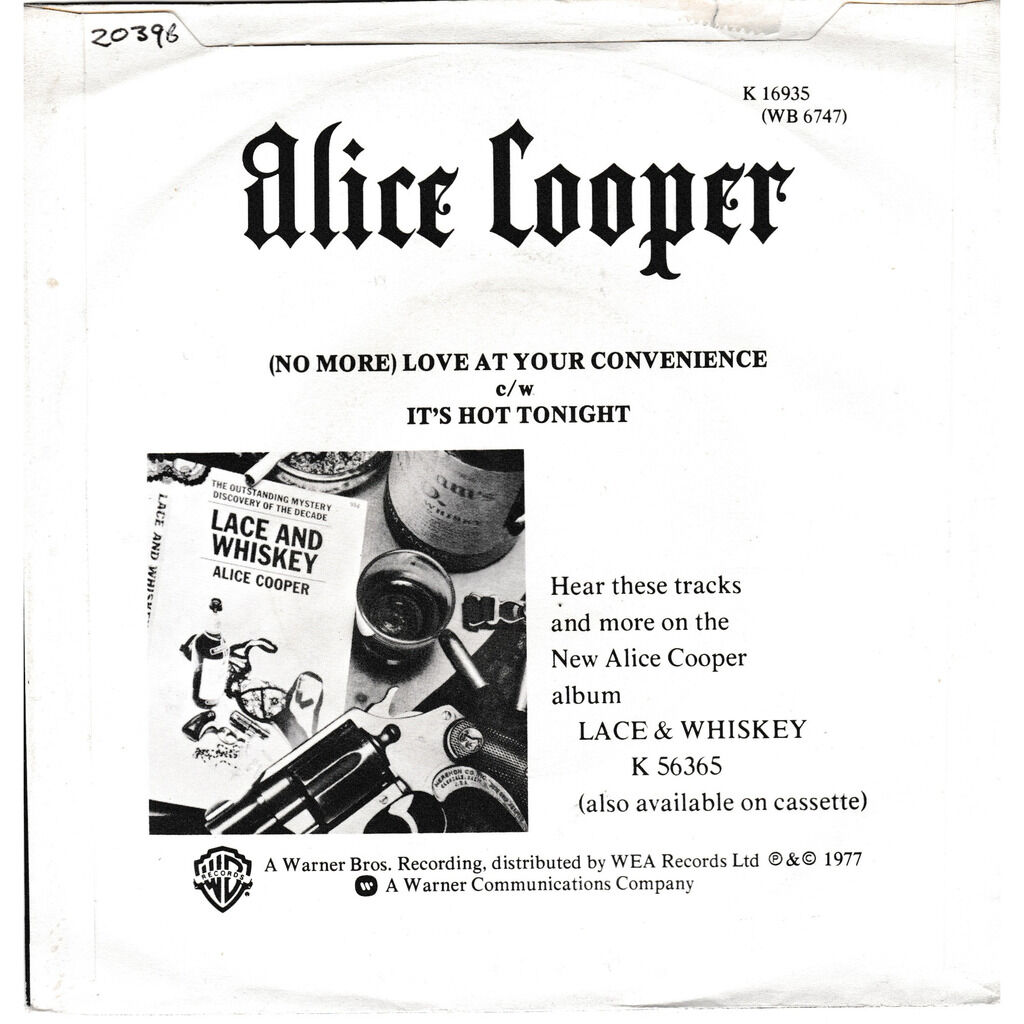 alice cooper (NO MORE) LOVE AT YOU CONVENIENCE IT'S HOT TONIGHT