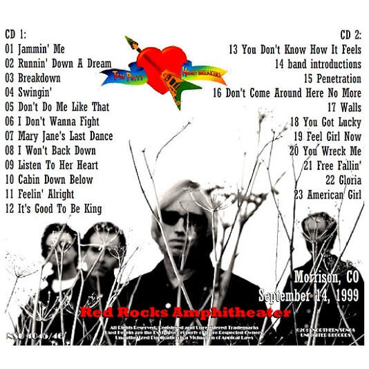 TOM PETTY & THE HEARTBREAKERS LIVE AT RED ROCKS 1999 SEPTEMBER 14th LTD 2 CD