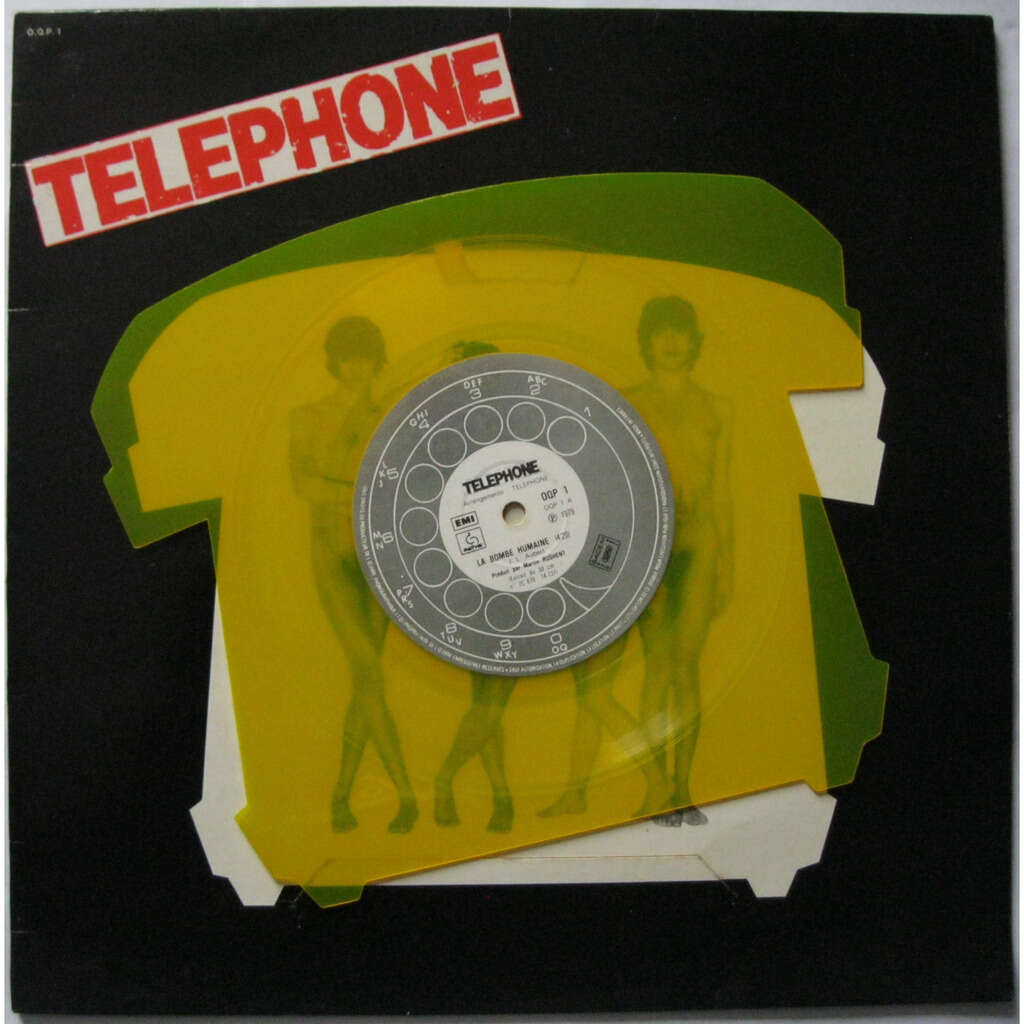 TELEPHONE La bombe humaine ( disque découpé jaune / yellow shaped disc )
