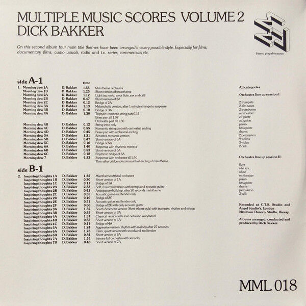 Dick Bakker / Toon Vieijra Multiple Music Scores Volume 2