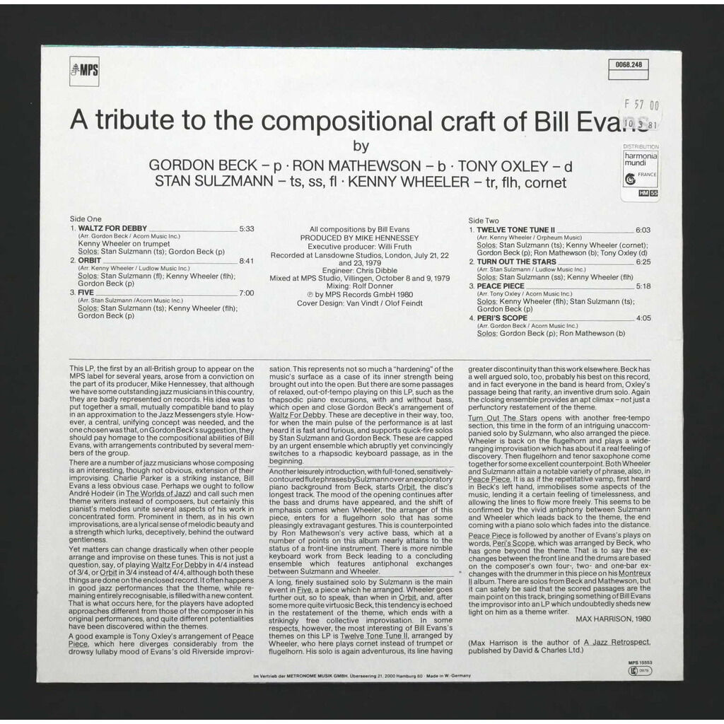 Gordon Beck / Ron Mathewson / Tony Oxley / Stan Su Seven Steps To Evans - A Tribute To The Compositions Of Bill Evans