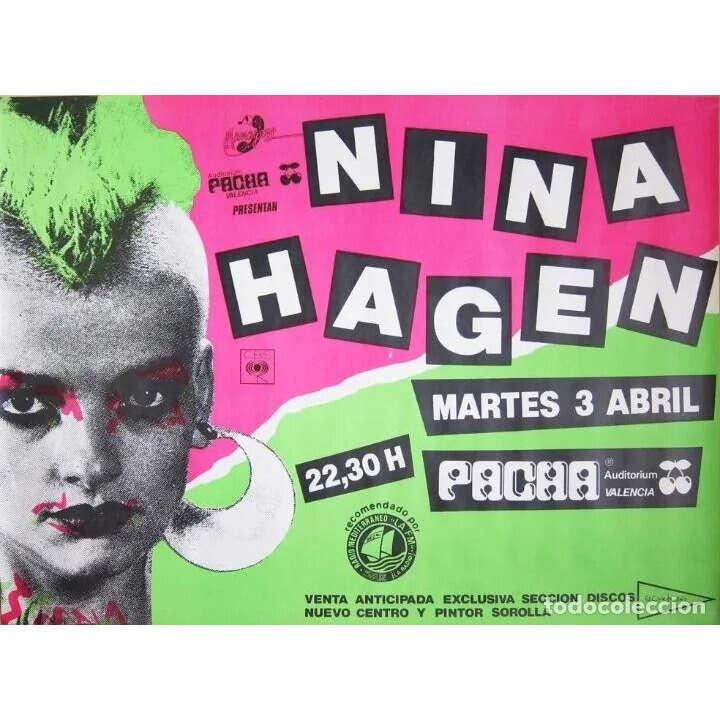 NINA HAGEN ORIGINAL CONCERT POSTER AT PACHA VALENCIA( ESPAÑA APRIL 3TH 1984!)