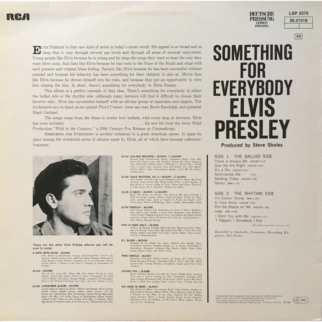 ELVIS PRESLEY - SOMETHING FOR EVERYBODY (GER. PRESSING 12 VINYL LP)