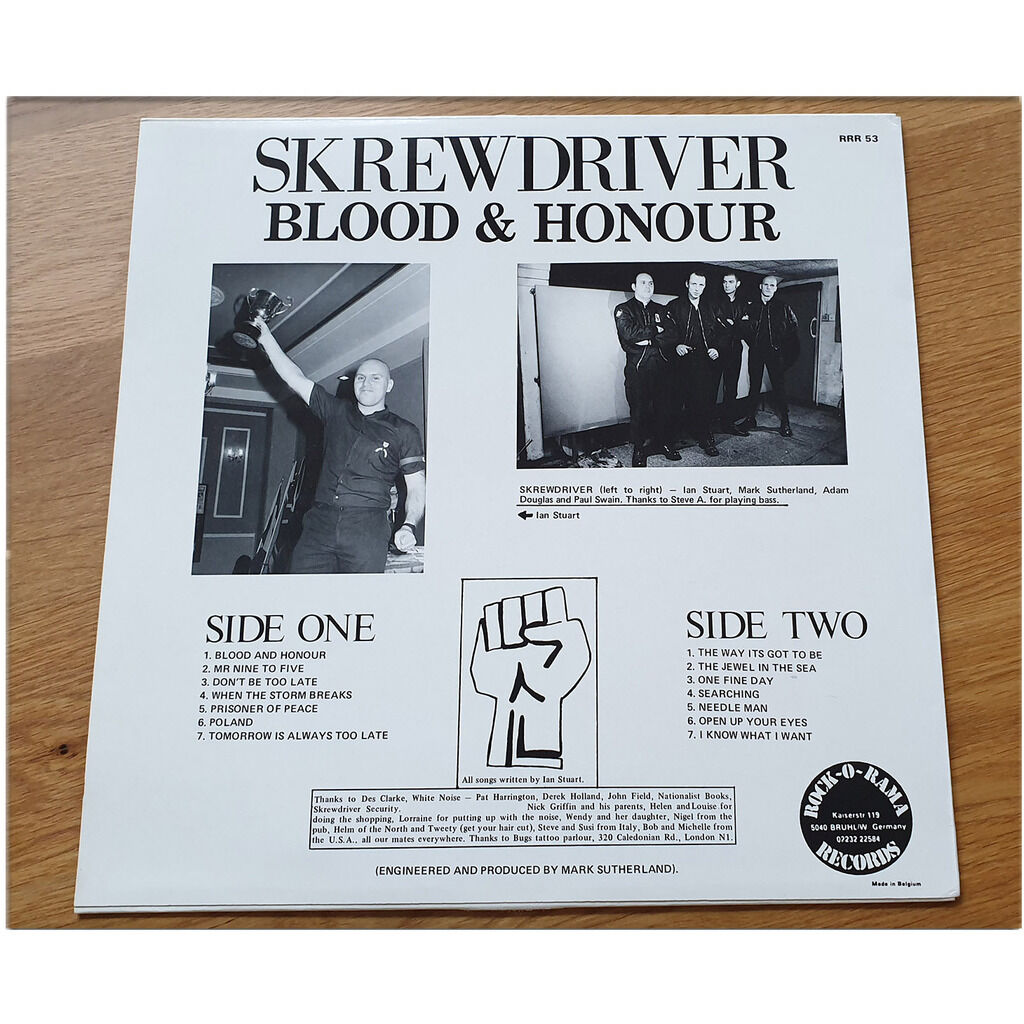 SKREWDRIVER BLOOD AND HONOUR