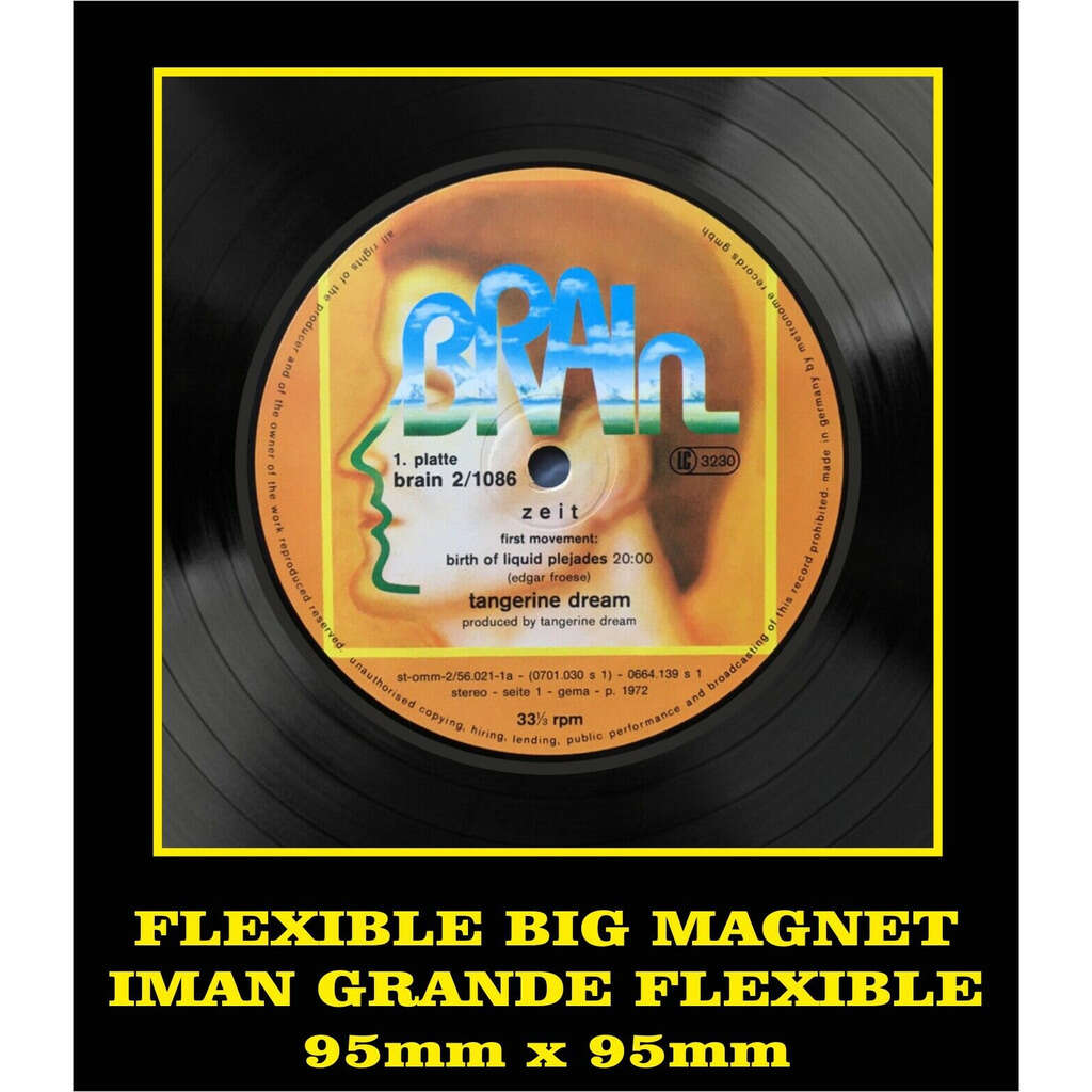Tangerine Dream Zeit LABEL FLEXIBLE BIG MAGNET IMÁN GRANDE AIMANT