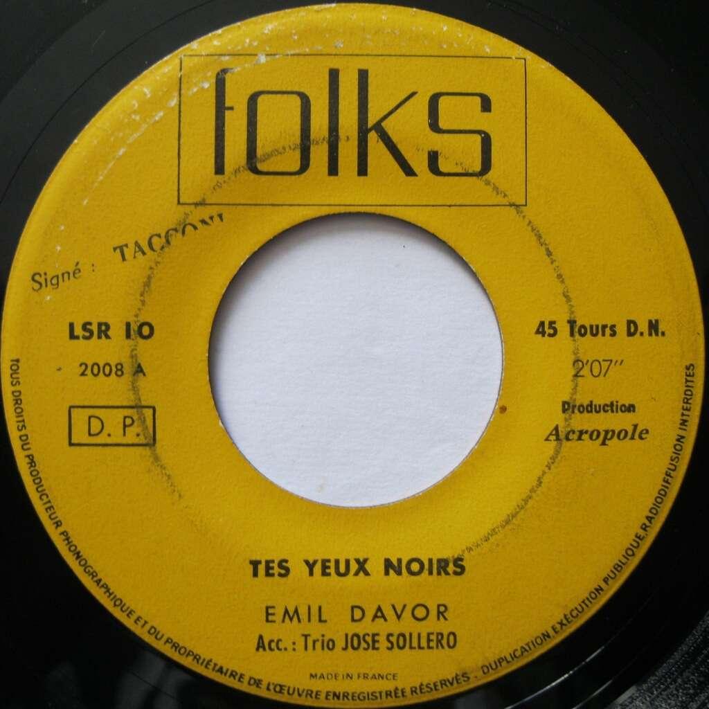 EMIL DAVOR Tes yeux noirs / Le temps du muguet ( rare jukebox France )