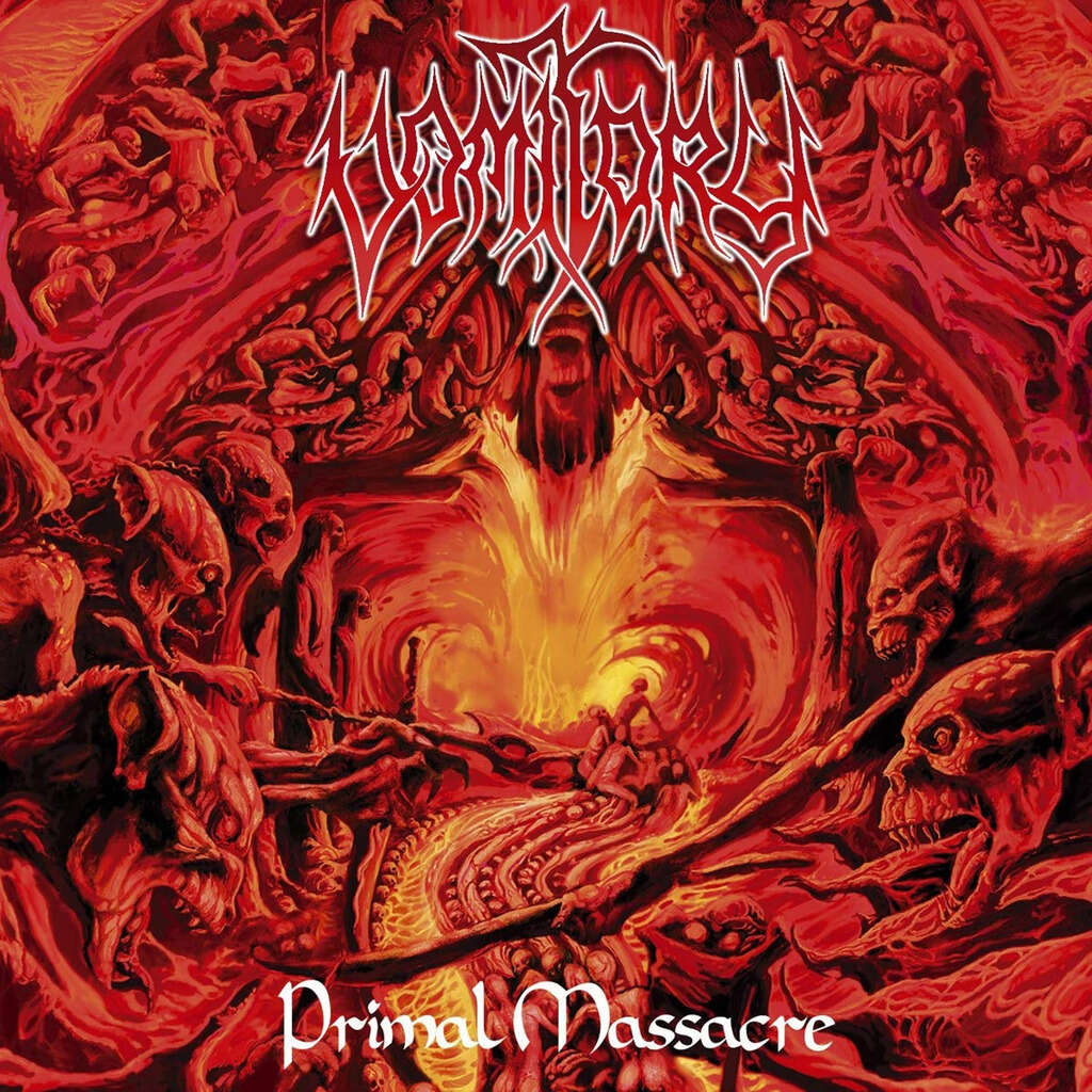 VOMITORY Primal Massacre. Orange Red Marble Vinyl