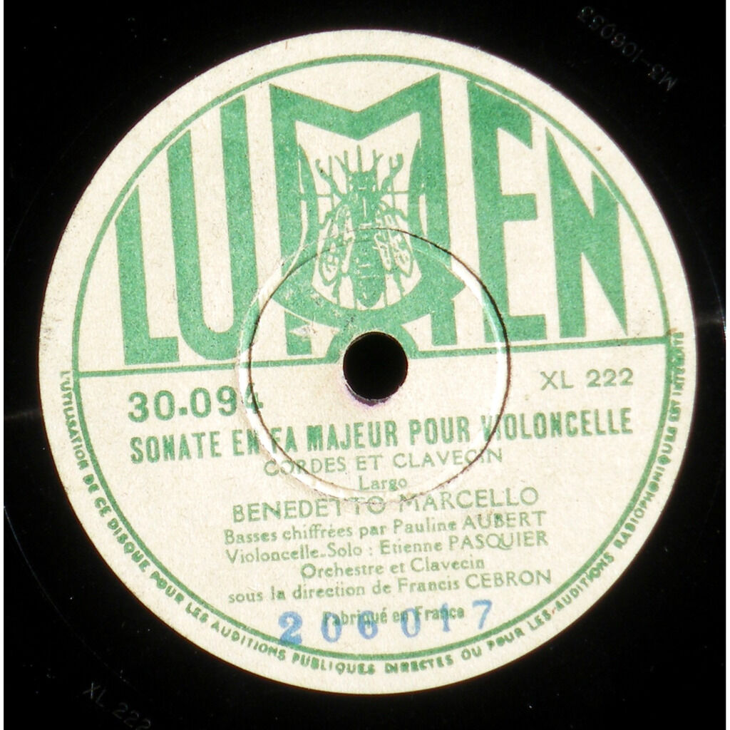 Marcello Etienne Pasquier Pauline Aubert Sonate en fa M - Extrait de la sonate en sol M (Grave)
