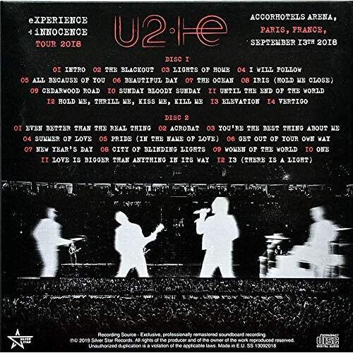U2 Live Paris France 13.9.2018 eXPERIENCE+iNNOCENCE Tour 2CD