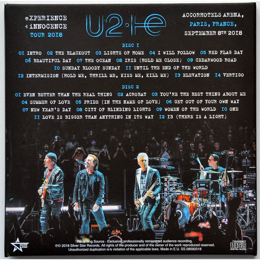 U2 Live Paris France 8.9.2018 eXPERIENCE+iNNOCENCE Tour 2CD