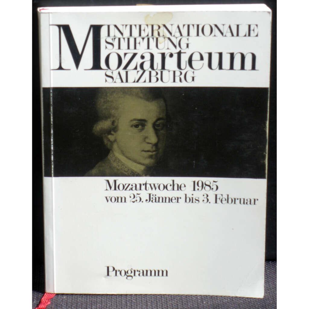 Int. Stiftung Mozarteum Salzburg Mozartwoche 1985 Programm Buch