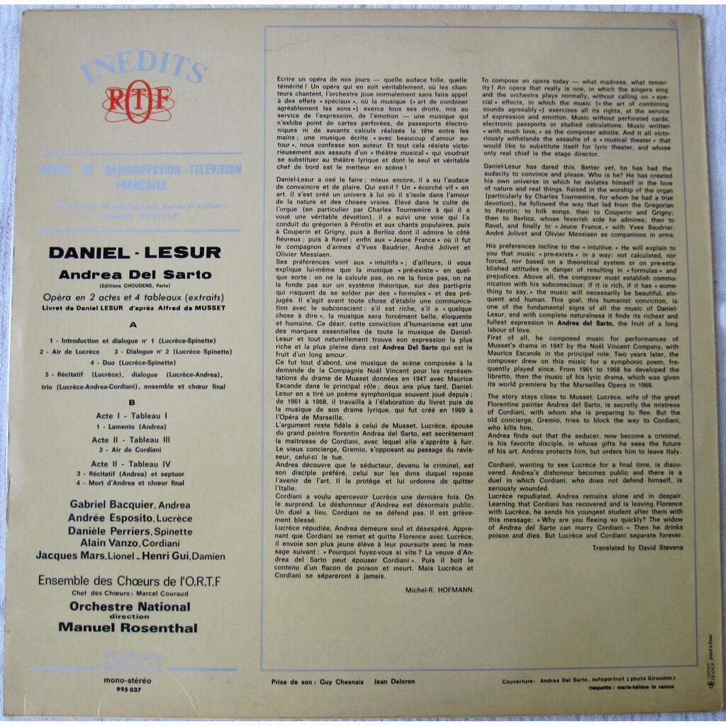 Daniel-Lesur, Orchestre National Andrea Del Sarto