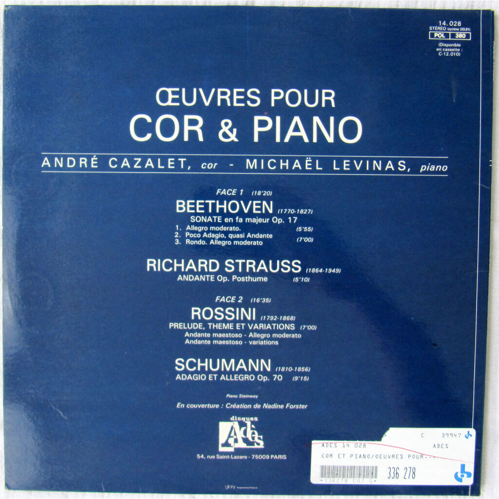 André Cazalet, Michaël Levinas, Ludwig van Beethov Oeuvres Pour Cor & Piano