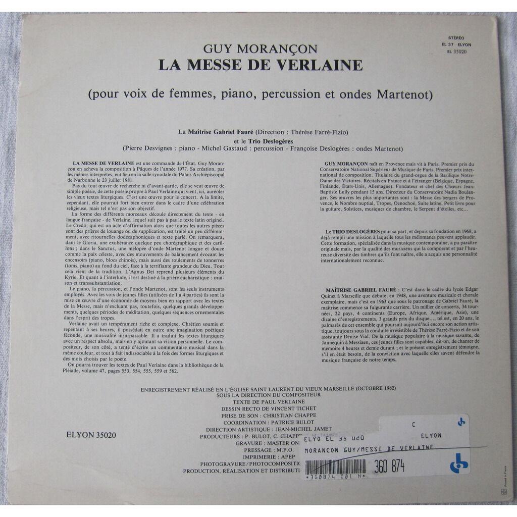 Guy Morançon, Trio Deslogères, La Maitrise Gabriel La Messe de Verlaine