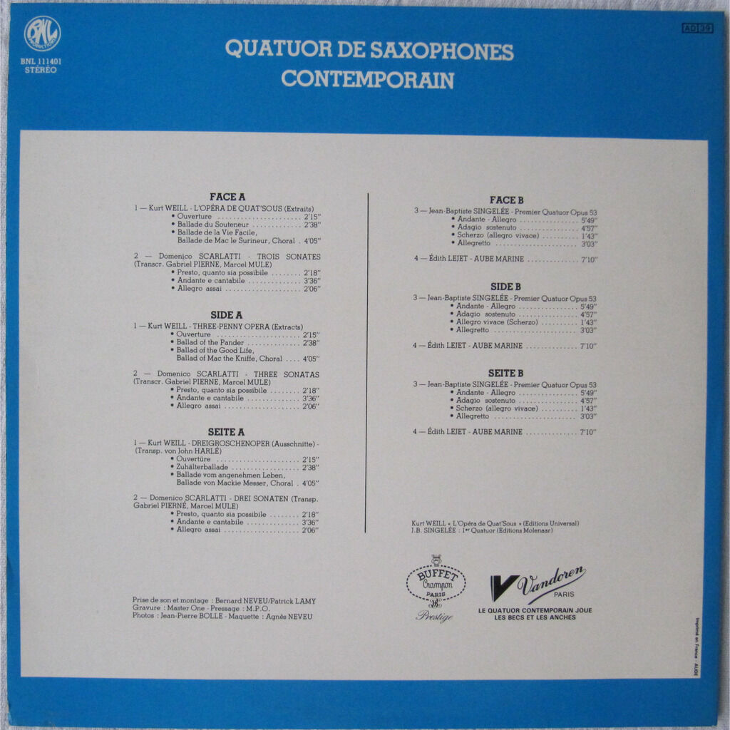 Quatuor de Saxophones Contemporain Quatuor de Saxophones Contemporain