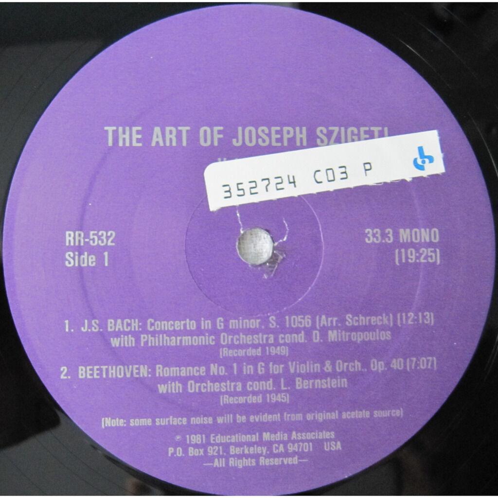 Joseph Szigeti, Dimitri Mitropoulos, Johann Sebast The Art Of Joseph Szigeti Volume 9