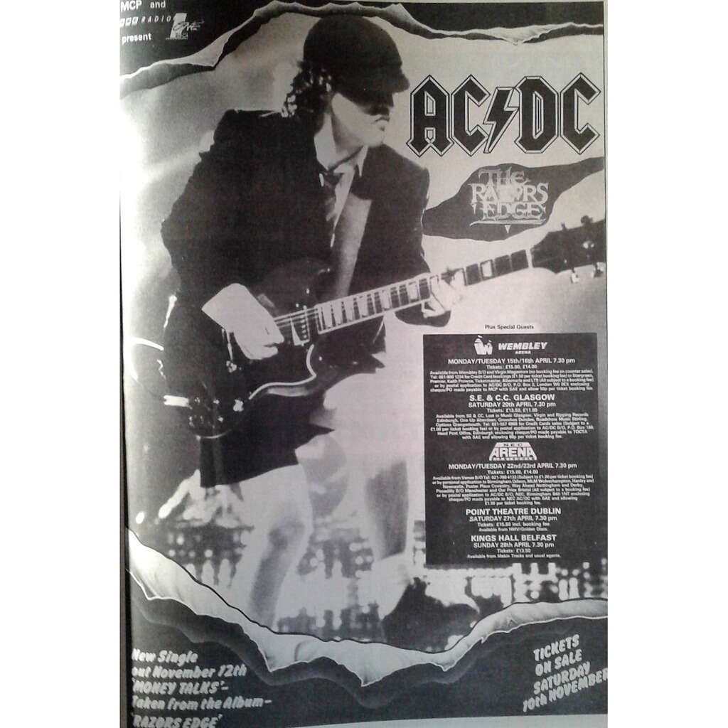 AC/DC UK Tour April 1991 (UK 1990 promo type advert 'Tour Dates' concert poster!)