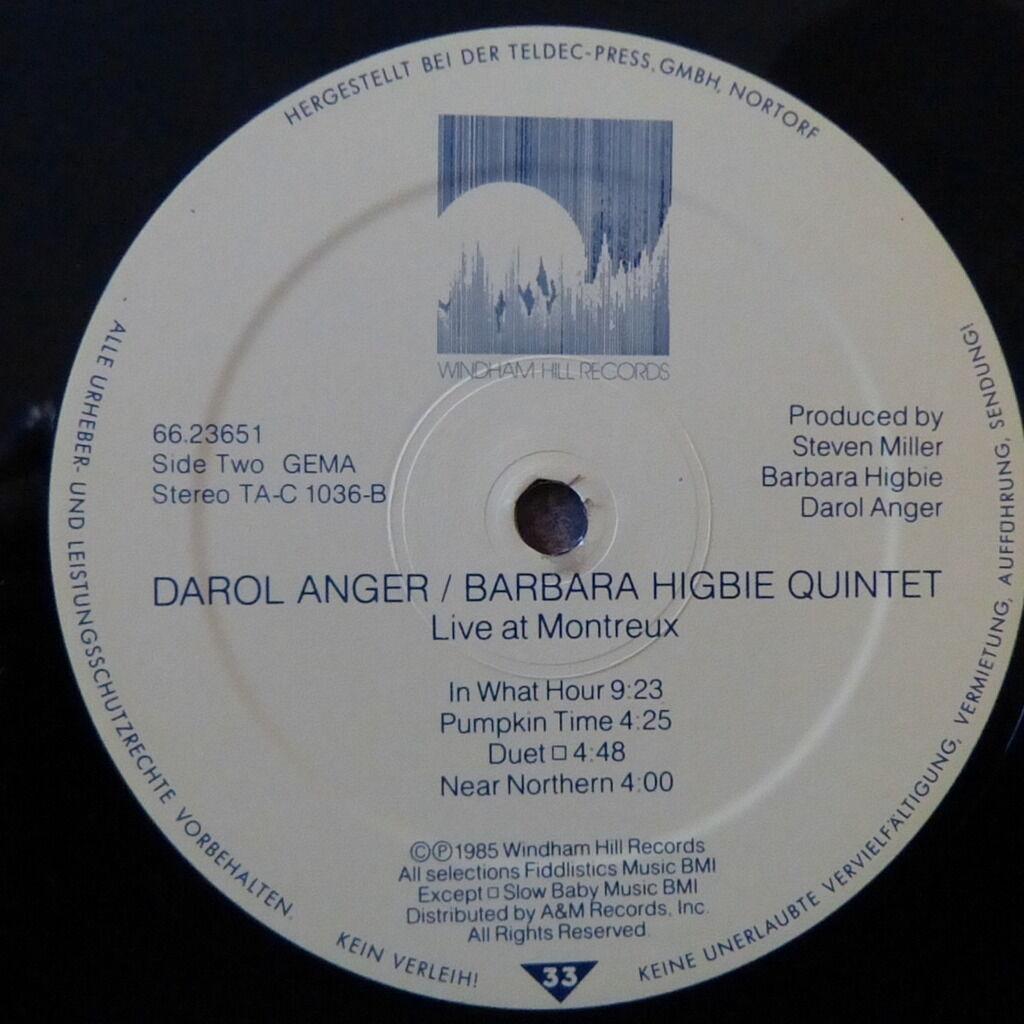 DAROL ANGER/BARBARA HIGBIE QUINTET LIVE AT MONTREUX