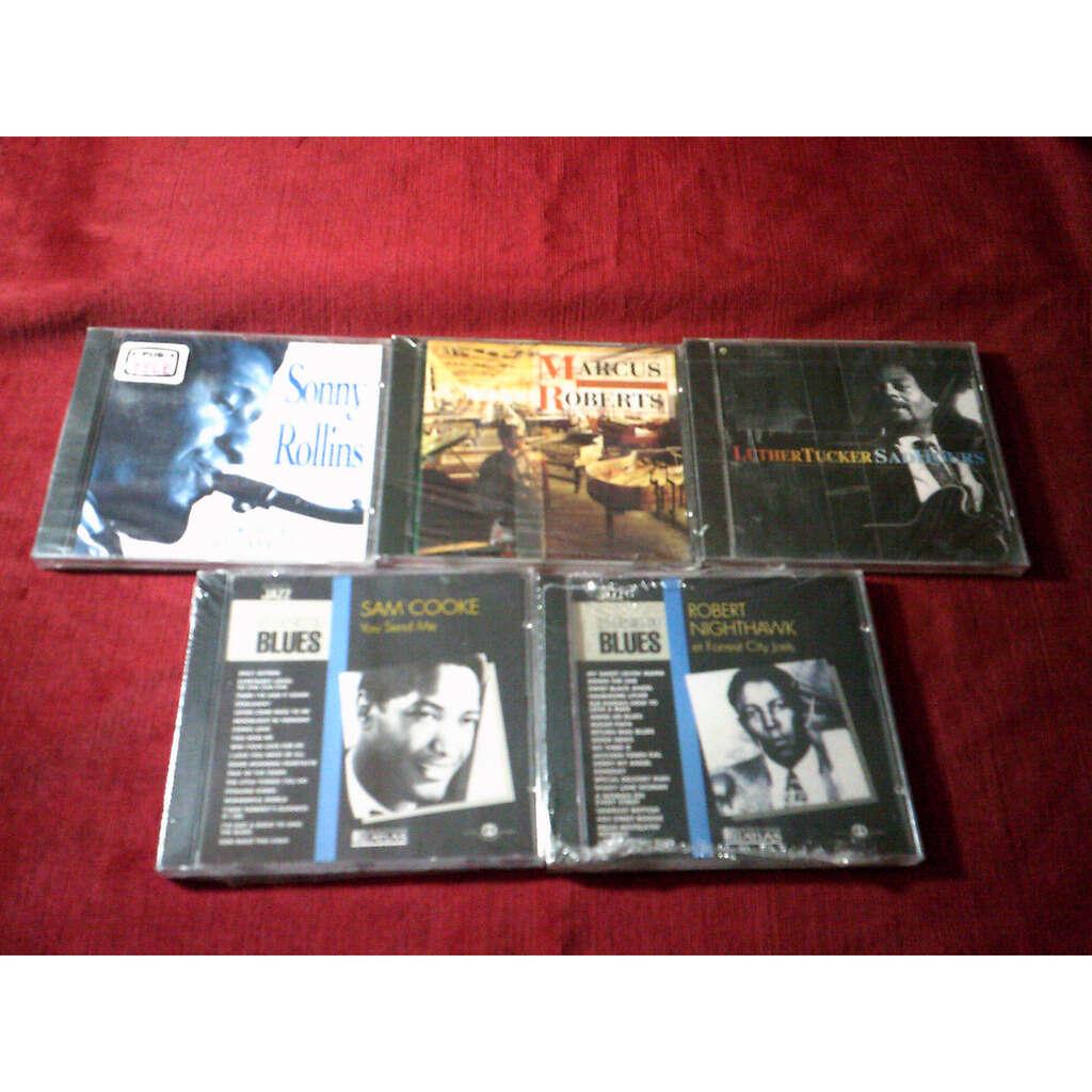 COLLECTION DE 5 CD ALBUM DE JAZZ SONNY ROLLINS + ROBERT NIGHTHAWK + MARCUS ROBERTS + SAM COOKE + LUTHER TUCKER