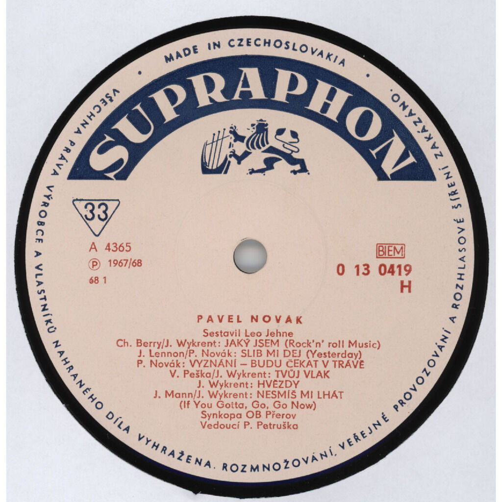 PAVEL NOVAK, Synkopa OB Prerov, Ostravsky Rozhlasovy Orchestr 1st Solo LP / Cover versions of Chuck Berry, Beatles, Manfred Man, Burt Bacharah... / MONO