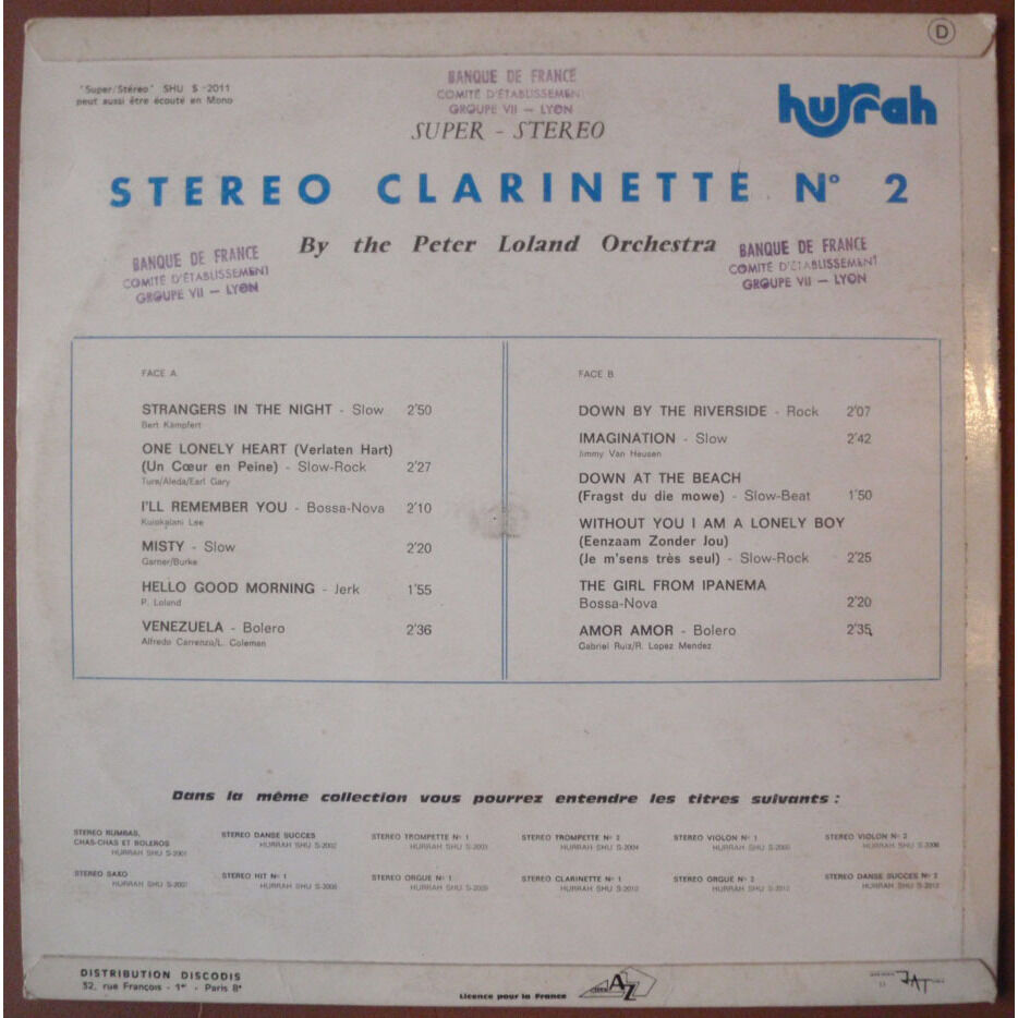 THE PETER LOLAND ORCHESTRA clarinette stereo no.2