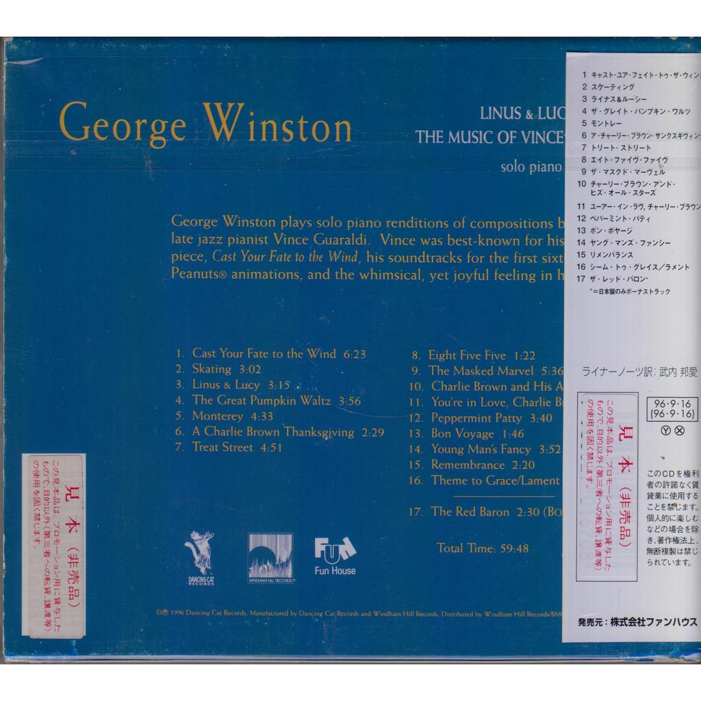 GEORGE WINSTON Linus & Lucy - The Music Of Vince Guaraldi JAPAN OBI CD-BOX PROMO MINT