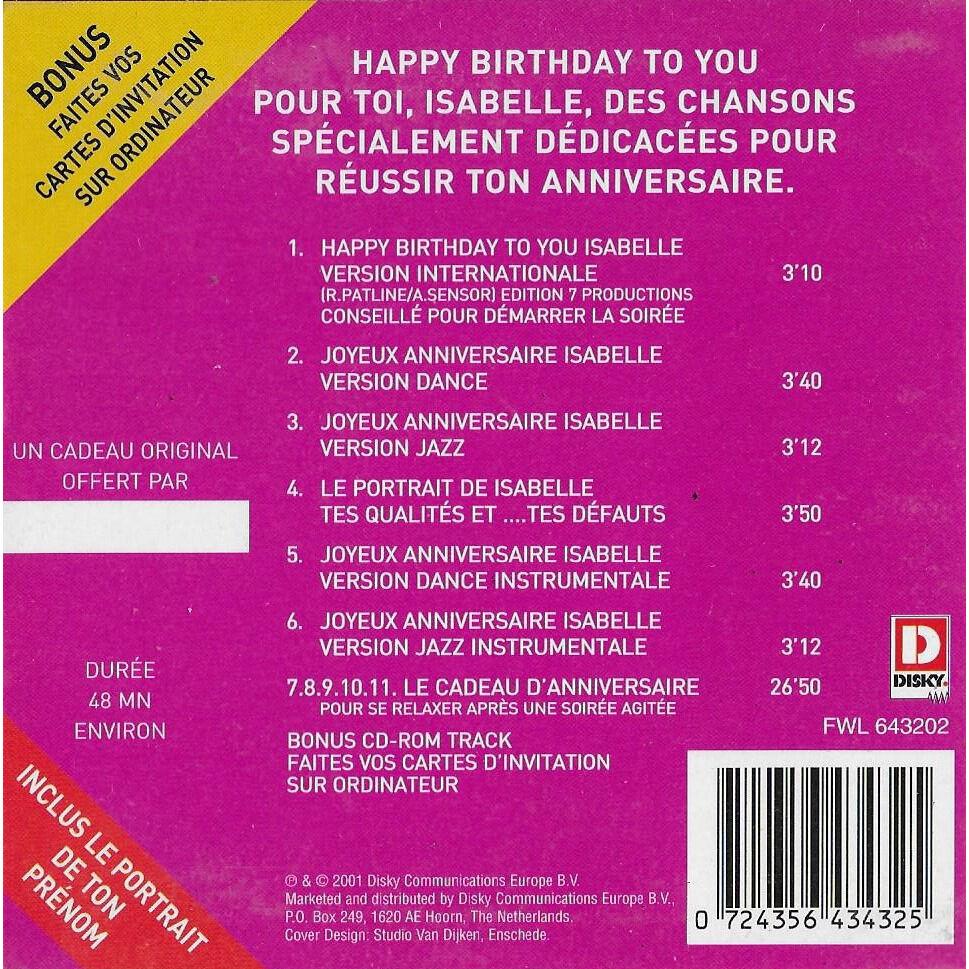 divers artistes - various artists Joyeux anniversaire ISABELLE