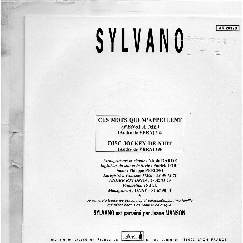 Sylvano Ces mots qui m'appellent (pensi a me) / dixc jokey de nuit