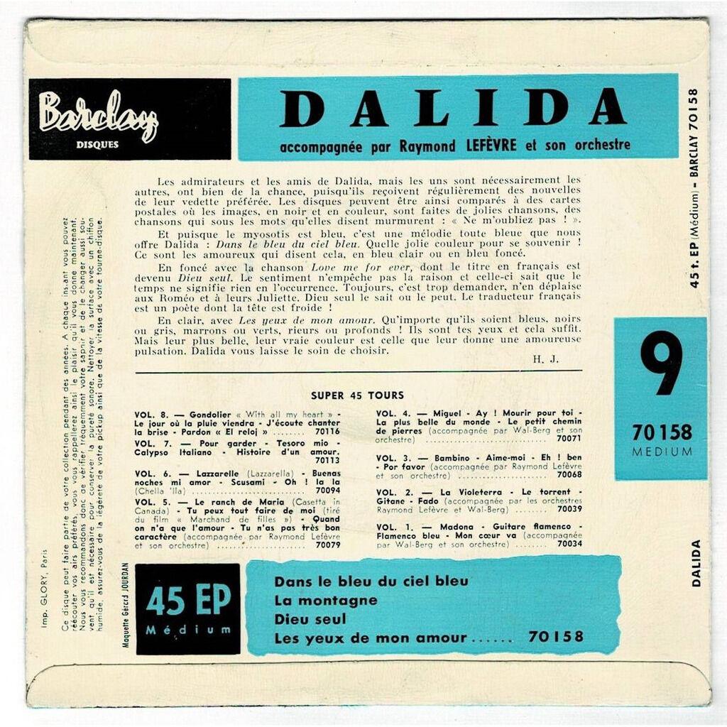 DALIDA dans le bleu du ciel bleu + 3 ( 1ère pochette )