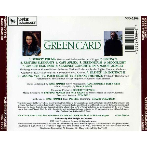 Hans Zimmer Green Card - Original Motion Picture Soundtrack