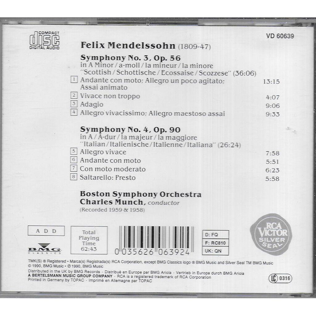 Charles MUNCH MENDELSSOHN Symphonies 3 & 4
