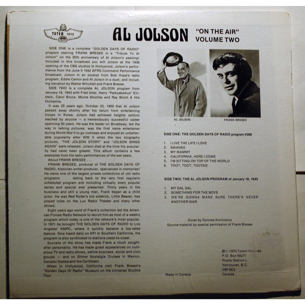 Al Jolson On The Air Volume 2