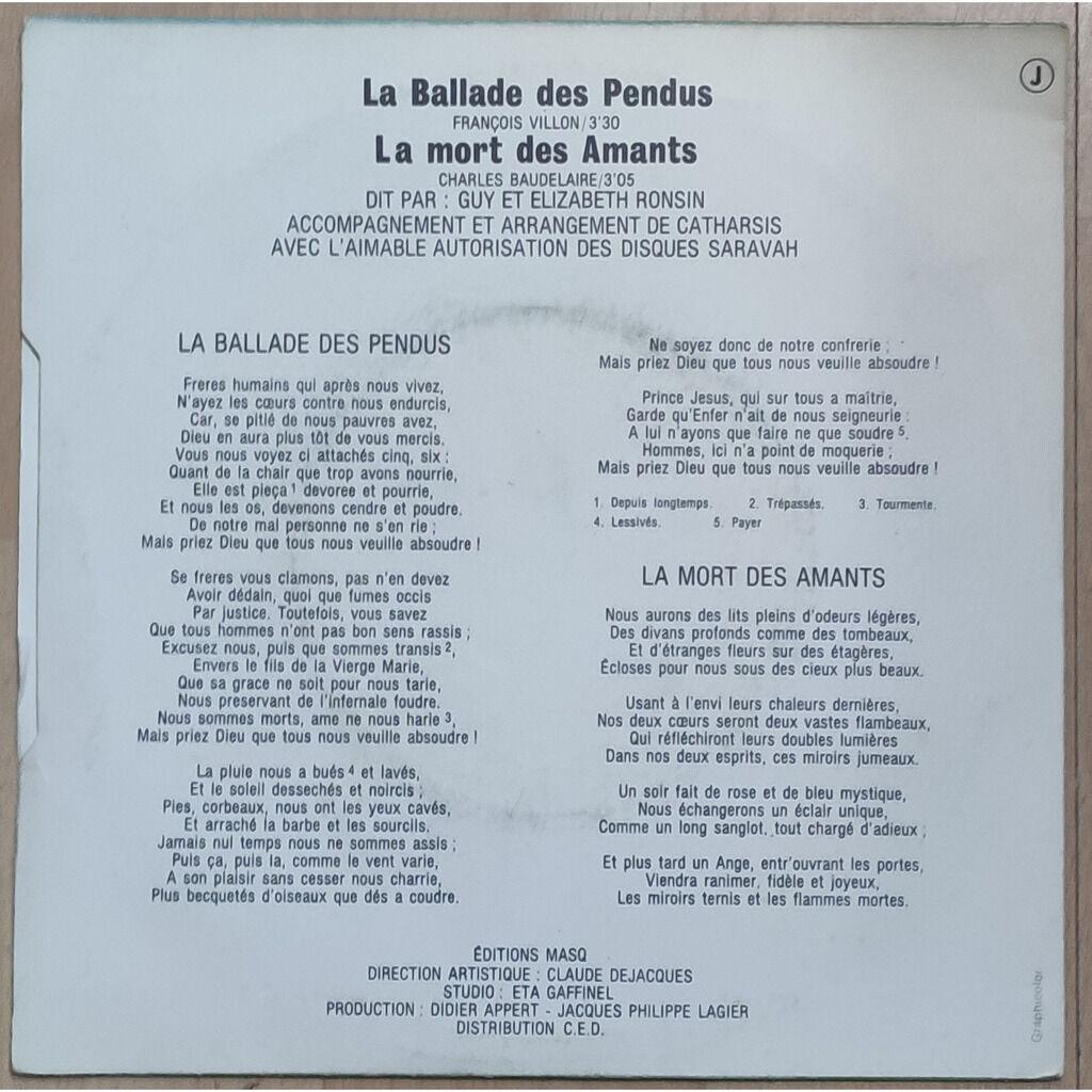 Guy Shelley Accompagné Par Catharsis La Ballade Des Pendus / La Mort Des Amants
